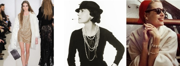Pictured: Fur hits the runway, Source: http://bit.ly/1b8PXRJ  Coco Chanel in Vintage Hat and Pearls, Source: http://bit.ly/1dFQMyI  Grace Kelly in Pearls, Head Wrap, and Dark Sunglasses, Source: http://indulgy.com/search/grace%20kelly