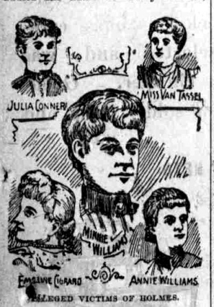 A drawing of Holmes' many female victims, whom he seduced and killed.